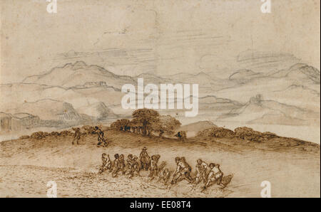 Landscape in Latium with Farm Laborers; Claude Lorrain (Claude Gellée), French, 1604 or 1605 ? - 1682; France, Europe - Stock Photo