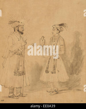 Shah Jahan and Dara Shikoh; Rembrandt Harmensz. van Rijn, Dutch, 1606 - 1669; about 1654 - 1656; Pen and brown ink - Stock Photo