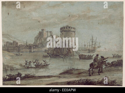 Figures in a Landscape before a Harbor; Claude Lorrain (Claude Gellée), French, 1604 or 1605 ? - 1682; France, Europe - Stock Photo