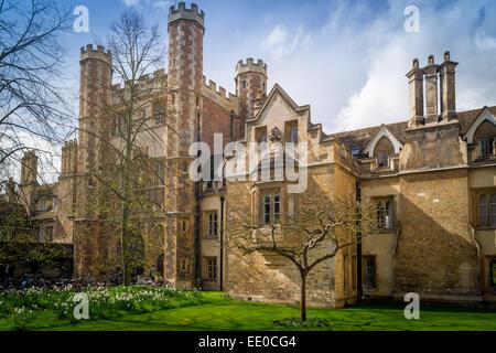 Trinity College Great Gate and descendant of Newton's Apple Tree, Trinity College, Cambridge, UK - Stock Photo