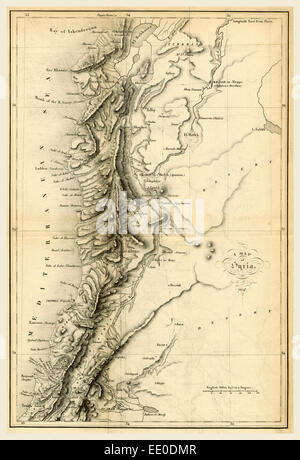 Map of Syria, 1837, 19th century engraving - Stock Photo