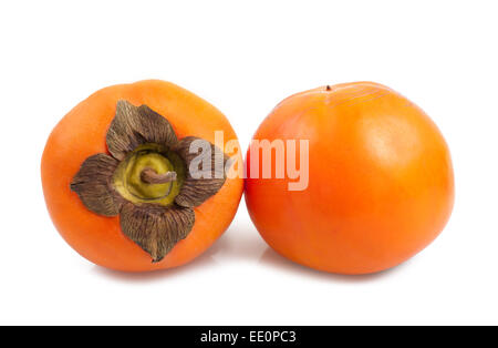 Fresh Persimmon or kaki diospyros  fruit on white background - Stock Photo