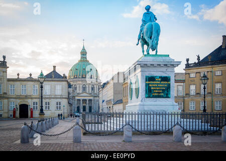 Amalienborg, The Queen's Winter Residence with Frederik's Church in the background. Copenhagen, Denmark - Stock Photo
