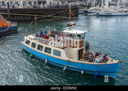 The Duchess of Cornwall St Mawes ferry boat carrying spectators at the 2014 Tall Ships Regatta in Falmouth - EDITORIAL - Stock Photo