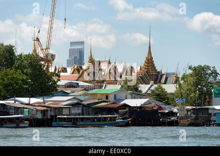 The Grand Palace as seen from the Chao Phraya River in Bangkok, Thailand - Stock Photo