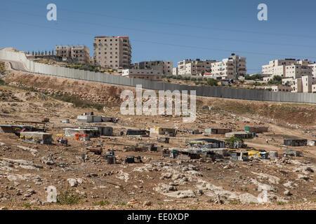 Separation barrier between East and West Jerusalem, Israel - Stock Photo