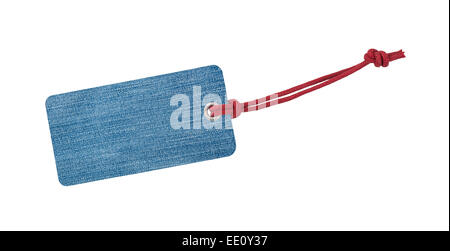 Jeans Etiquette with red ribbon isolated on white - Stock Photo