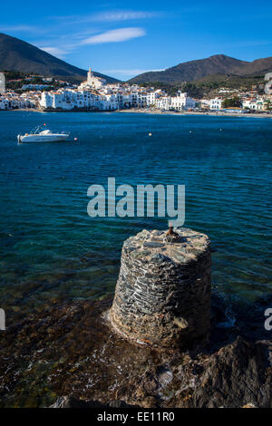 The seafront in Cadaques, Catalonia, Spain. - Stock Photo