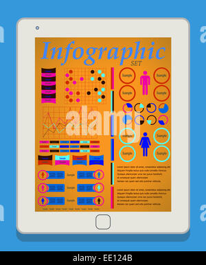 Male and female infographic set on tablet PC, IT Industry Elements. Vector illustration EPS10. - Stock Photo