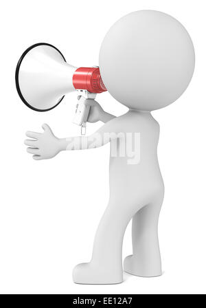 The dude holding Megaphone. Rear view. - Stock Photo