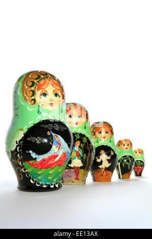 Matrjoschka, Matroschka, volkstuemliche russische Holzpuppe, Schachtelpuppe - Stock Photo