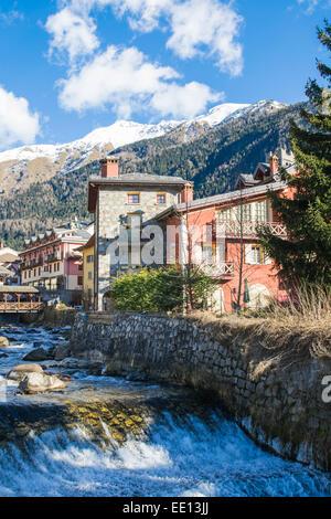 spring in a mountain creek village - Stock Photo