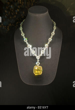 Tiffany Yellow Diamond. Mounted in a necklace of white diamonds.  On display at the Fifth Avenue store. Tiffany's, - Stock Photo