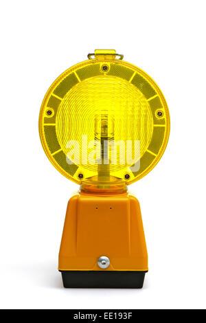 Gelbe Warnlampe, Baustellenabsicherung - Stock Photo