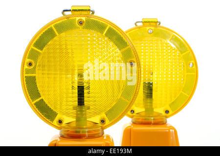 Gelbe Warnlampen, Baustellenabsicherung - Stock Photo