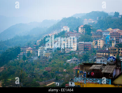 An aerial view of Sapa Town, Vietnam, on a rainy day. - Stock Photo