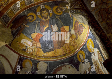 Ceiling frescoes, Karanlik Kilise or the Dark Church, Göreme Open Air Museum, Nevsehir Province, Cappadocia, Turkey - Stock Photo