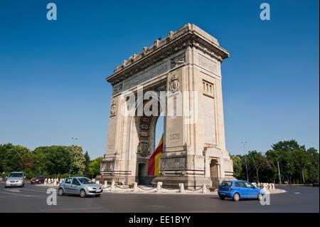 Arcul de Triumf, triumphal arch, Bucharest, Romania - Stock Photo