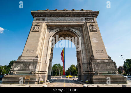 Arcul de Triumf, triumphal arch, Bucharest, Romania - Stock Photo