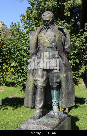 The statue of former Yugoslav President Josip Broz Tito in front of his native house in Kumrovac, Croatia - Stock Photo