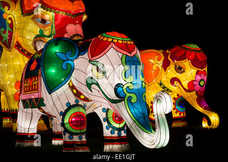 Elephant Chinese Lanterns at Longleat, Warminster, Wiltshire. England - Stock Photo