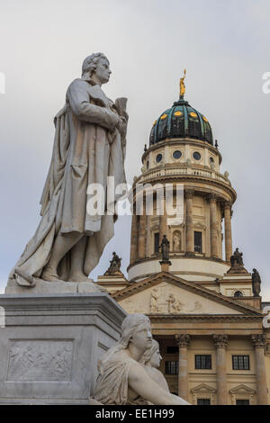 Franzosischer Dom (French Cathedral) and Schiller's Monument detail, Gendarmenmarkt, Mitte, Berlin, Germany, Europe - Stock Photo