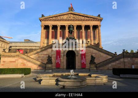 Alte Nationalgalerie (Old National Gallery), lit by early morning sun, Museum Island, Berlin, Germany, Europe - Stock Photo