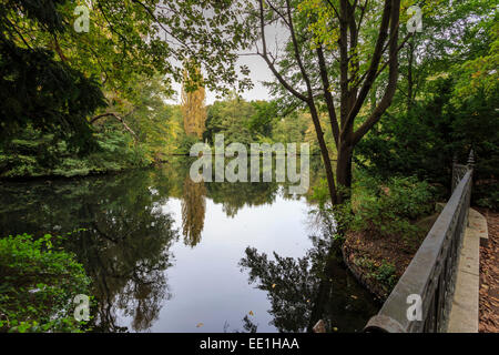 Autumn evening in Tiergarten Park, Lake with reflections, Berlin, Germany, Europe - Stock Photo