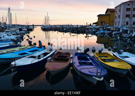 Boats in Piran harbour, Gulf of Piran, Adriatic Sea, Slovenia, Europe - Stock Photo