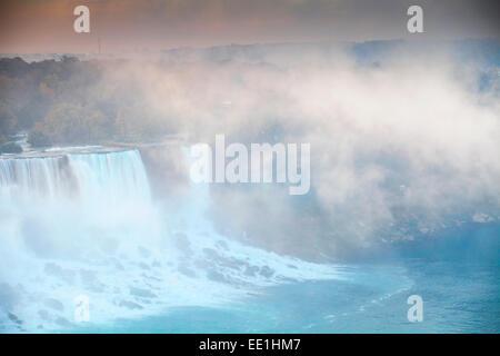 View of The American and Bridal Veil Falls at dawn, Niagara Falls, Niagara, border of New York State, USA, and Ontario, - Stock Photo