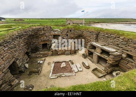 Excavated 5000 year old village site of Skara Brae, UNESCO, on Mainland Island, Orkney Archipelago, Scotland, United - Stock Photo