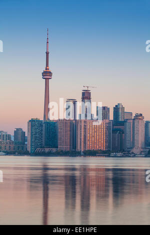 View of CN Tower and city skyline, Toronto, Ontario, Canada, North America - Stock Photo