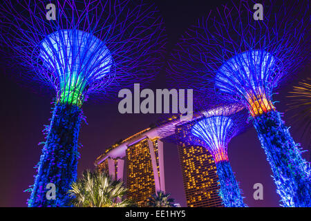 gardens by the bay and marina bay sands hotel at night singapore southeast asia