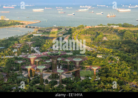 View over the Gardens by the Bay, Singapore, Southeast Asia, Asia - Stock Photo