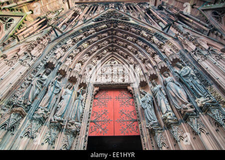 Detail of the tympanum on Notre Dame de Strasbourg Cathedral, UNESCO World Heritage Site, Strasbourg, Bas-Rhin, - Stock Photo