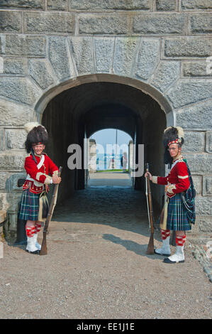 Traditional dressed guards in Fort George, Citadel Hill, a National Historic Site, Halifax, Nova Scotia, Canada, - Stock Photo