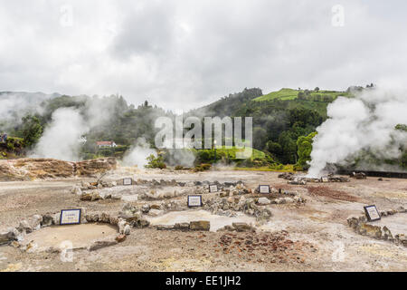 Furnas Valley, a site of bubbling hot springs and fumaroles on the Azorean capital island of Sao Miguel, Azores, - Stock Photo