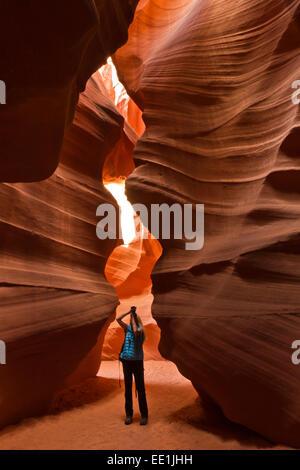 Upper Antelope Canyon, Tse' bighanilini, LeChee Chapter, Navajo Nation, Arizona, United States of America, North - Stock Photo