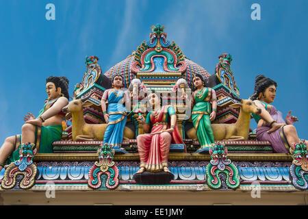 Hindu deities at Sri Mariamman (Mother Goddess Temple), oldest Hindu place of worship, Chinatown, Singapore, Asia - Stock Photo