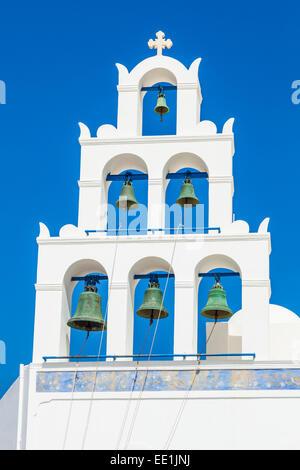 Greek church bell tower of Panagia Platsani, Oia, Santorini (Thira), Cyclades Islands, Greek Islands, Greece, Europe - Stock Photo