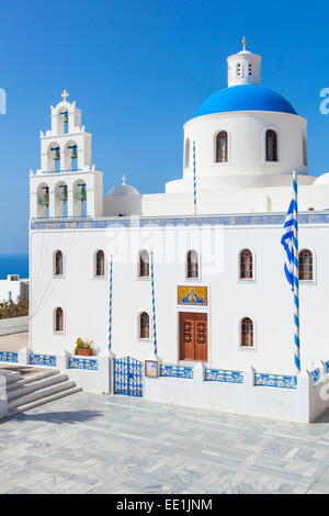 Bue dome and bell tower of Greek church Panagia Platsani, Oia, Santorini (Thira), Cyclades Islands, Greek Islands, - Stock Photo