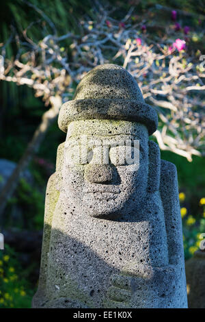 Dol hareubang (harubang) protection and fertility statue, Seogwipo City, Jeju Island, South Korea, Asia - Stock Photo