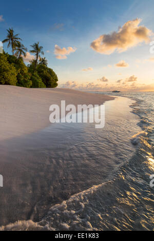 Morning light on a deserted beach on an island in the Northern Huvadhoo Atoll, Maldives, Indian Ocean, Asia - Stock Photo