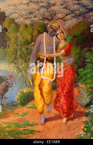 Picture of Krishna and Radha displayed in an ISKCON temple, Sarcelles, Seine St. Denis, France, Europe - Stock Photo
