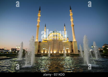 Akhmad Kadyrov Mosque after sunset, Grozny, Chechnya, Caucasus, Russia, Europe - Stock Photo