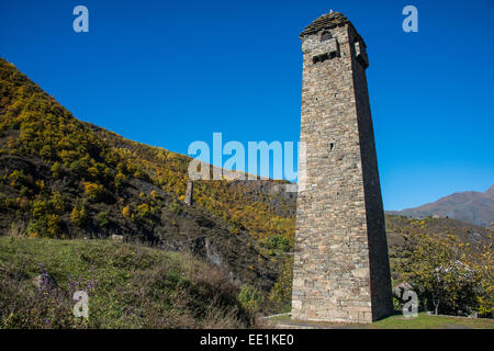 Chechen watchtowers in the Chechen Mountains near Itum Kale, Chechnya, Caucasus, Russia, Europe - Stock Photo