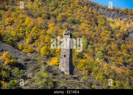 Chechen watchtower in the Chechen Mountains near Itum Kale, Chechnya, Caucasus, Russia, Europe - Stock Photo