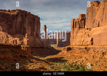 Stone wall of the Window section, Arches National Park, Utah, United States of America, North America - Stock Photo