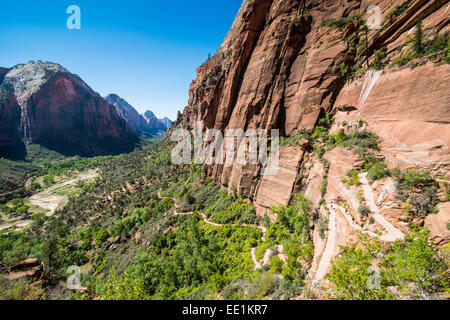 View over the cliffs of the Zion National Park and the Angel's Landing trail, Zion National Park, Utah, United States - Stock Photo