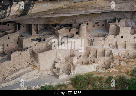The Cliff Palace Indian dwelling, Mesa Verde National Park, UNESCO World Heritage Site, Colorado, United States - Stock Photo